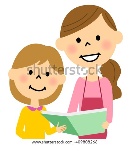 Apron woman reading a book to children - stock vector