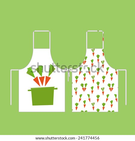 aprons in the pattern of carrots with a pan - stock vector