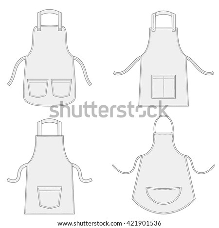 Aprons with outsets and pockets set - stock vector