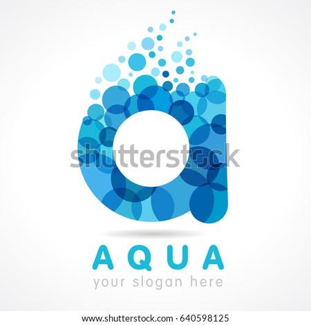 Aqua A Water Drop Letter Logo Mineral Natural Vector Icon Design Of