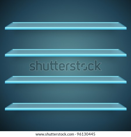 aqua glass shelves - stock vector