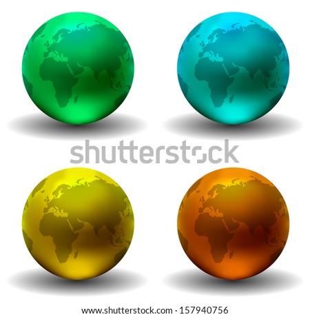 Aqua Glossy Earth Globes (Vector) - stock vector