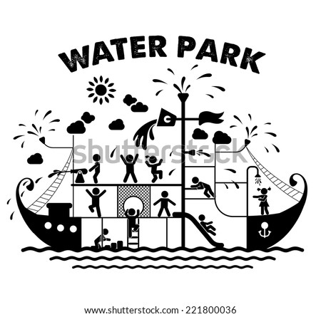Aqua park flat vector illustration. Pictogram icons of children playing in a water park. Children play on playground. Pictogram icon set. - stock vector