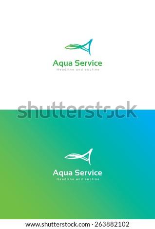 Aqua service logo teamplate. - stock vector