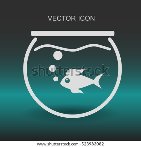 Aquarium and fish vector icon
