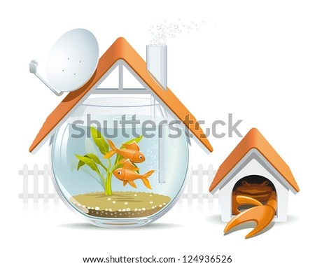 Aquarium home with a guard. Illustration of an apartment building in the form of an aquarium with fish and crab instead of a dog in a kennel. - stock vector