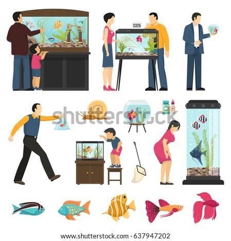 Aquarium People Set Isolated Human Characters Stock Vector