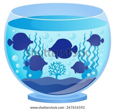 Aquarium with fish silhouettes 1 - eps10 vector illustration. - stock vector