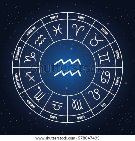 aquarius astrology sing zodiac circle on stock vector royalty free
