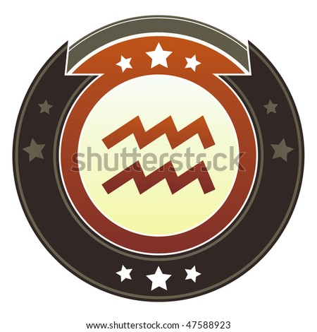 Aquarius zodiac astrology icon on round red and brown imperial vector button with star accents suitable for use on website, in print and promotional materials, and for advertising.