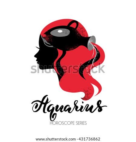 Aquarius zodiac sign. Beautiful girl silhouette. Vector illustration. Horoscope series - stock vector