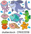 Aquatic animals collection - vector illustration. - stock vector