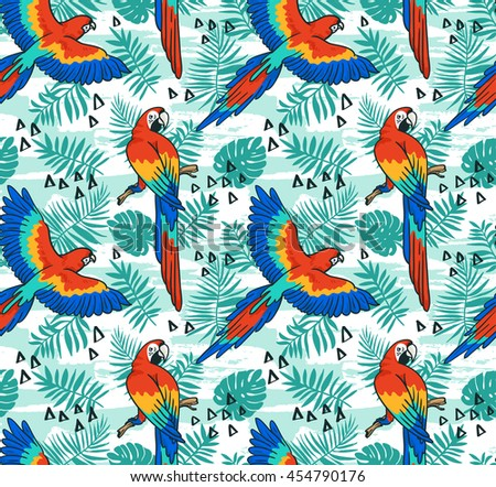 Ara parrot  vector seamless pattern.  Tropical fabric design with leaves and birds.  - stock vector