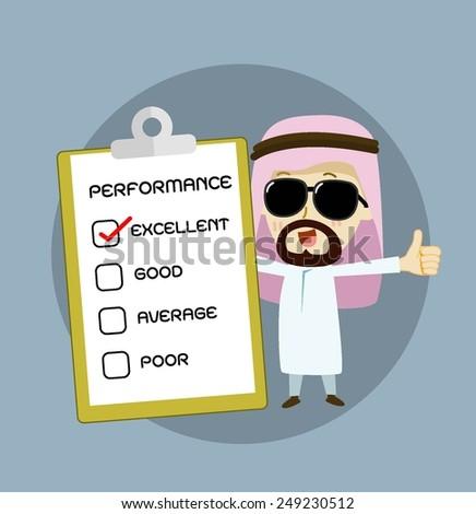 arab businessman and check box . vector cartoon business - stock vector