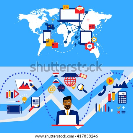 Arab businessman and international cooperation. Business strategy. From Graphic design and accounting to management - stock vector