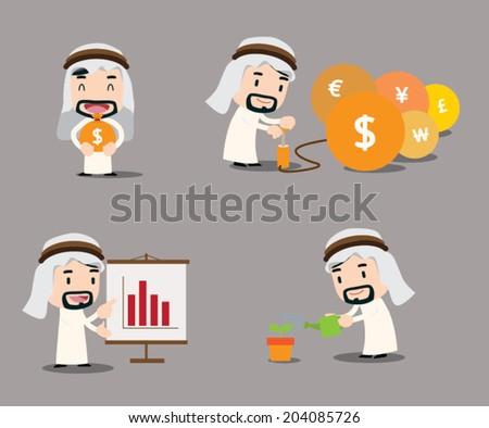Arab businessman character - growth - stock vector