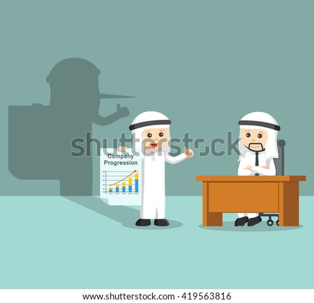 arab businessman giving a fake report