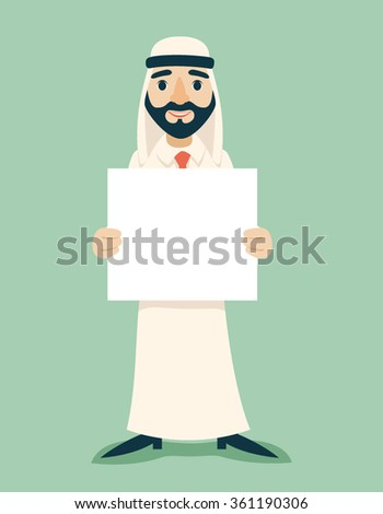 Arab Businessman Traditional National Muslim Clothes Cartoon Character White Board Presentation Icon Stylish Background Retro Cartoon Design Vector Illustration - stock vector
