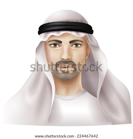 Arab dressed in national clothes isolated on white. - stock vector