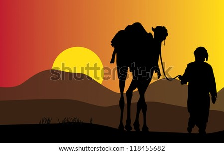 Arab male with camel vector design - stock vector