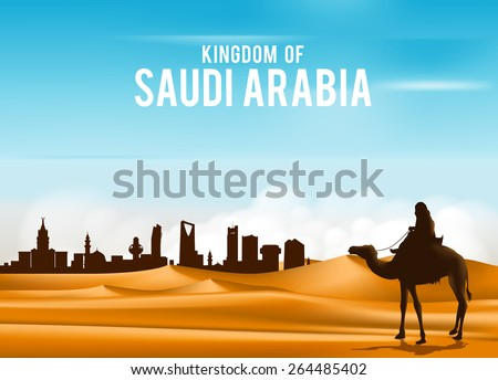 Arab Man Riding in Camel in Wide Desert Sands in Middle East Going to City in Kingdom of Saudi Arabia. Editable Vector Illustration - stock vector