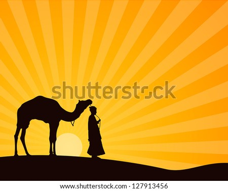 Arab man with a camel - stock vector