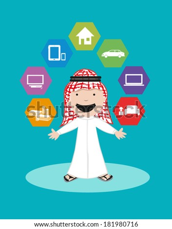 Arab Man with dream appliances and items. Financial Security and Banking Solutions. Editable Clip Art. - stock vector