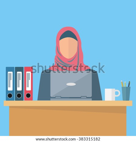 Arab, middle eastern woman employee at the workplace vector illustration - stock vector
