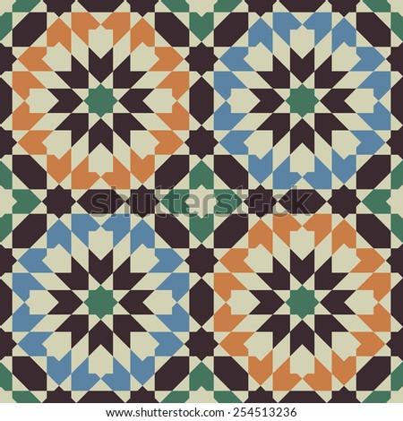 Arabesque. Islamic abstract geometric background. Seamless pattern. Vector illustration.  - stock vector