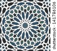 Arabesque seamless pattern in blue and black in editable vector file - stock photo