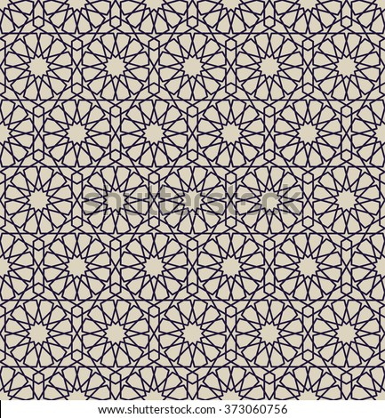 Arabesque. Seamless pattern in Moroccan style. Mosaic tile. Islamic traditional ornament. Geometric background. Vector illustration.  - stock vector