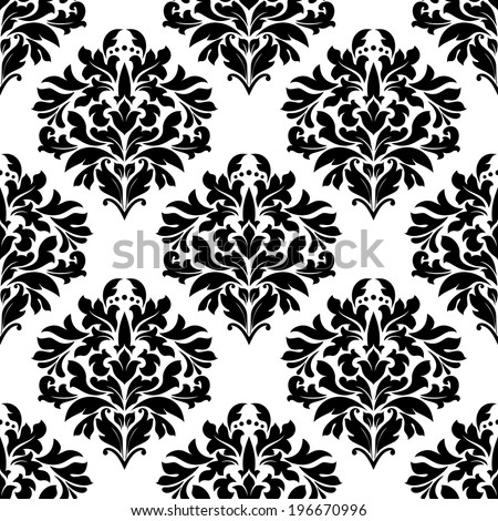 Arabesque seamless pattern with big bold black and white floral motifs suitable for damask style fabric or wallpaper design - stock vector