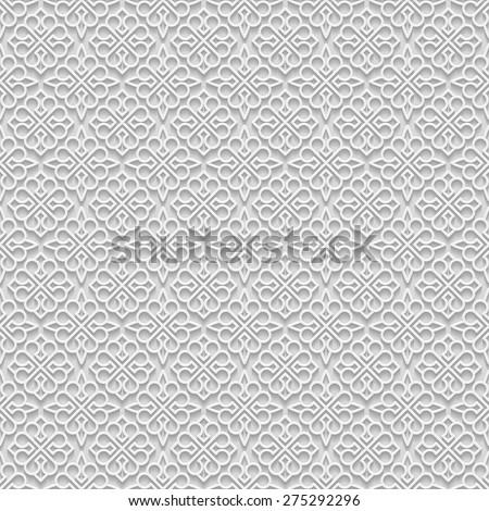 Arabesque vector pattern on light grey background - stock vector