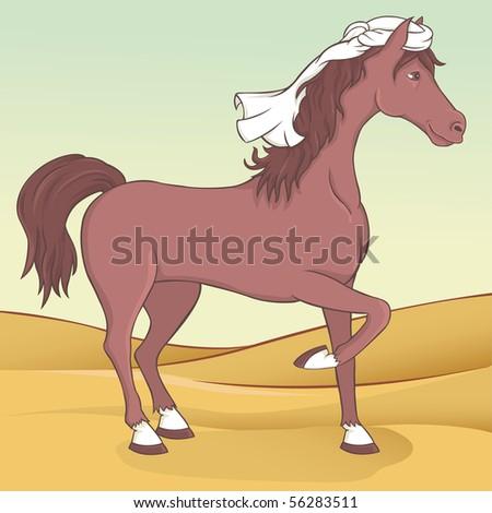 Arabian horse illustration - stock vector