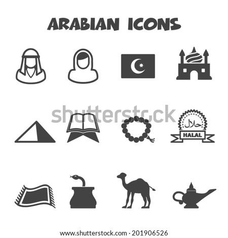 arabian icons, mono vector symbols - stock vector