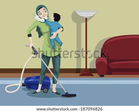 Arabian Mother Cleaning Her House-vector - stock vector