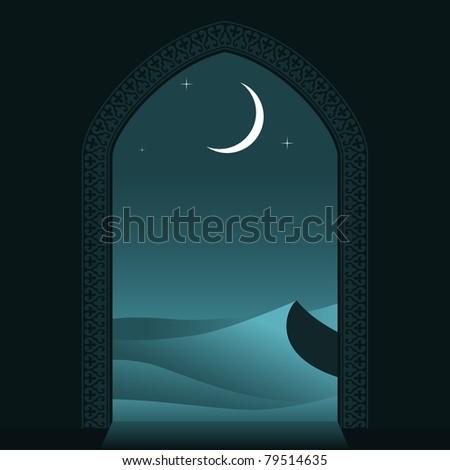 Arabian night. Vector illustration. - stock vector