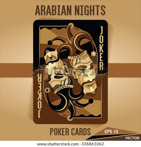 Arabian Nights - Poker Cards - JOKER - stock vector