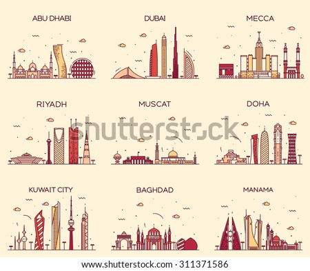 Arabian peninsula skylines detailed silhouette. Abu Dhabi, Dubai, Mecca, Riyadh, Muscat, Doha, Kuwait City, Baghdad, Manama. Trendy vector illustration, line art style. - stock vector