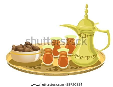 Arabian Tea Set With Dates 2-vector - stock vector