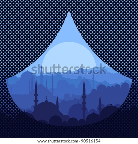 Arabic city landscape background illustration - stock vector