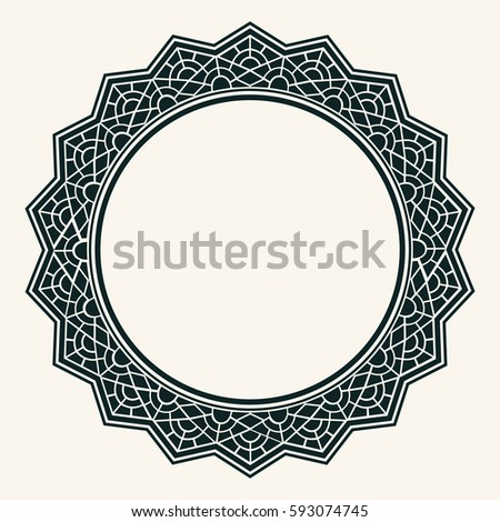 arabic design circular border ornamental round stock