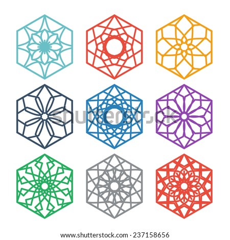 Arabic hexagon ornament set. Vector symbols collection - stock vector