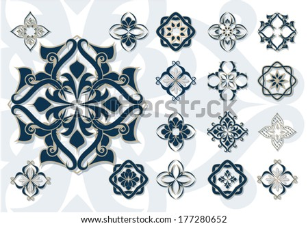 Arabic Islam decor elements vector