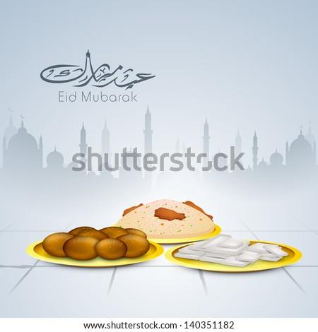 Arabic Islamic calligraphy of text Eid Mubarak with sweets. - stock vector