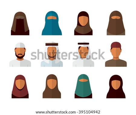 Arabic man and woman set, vector avatars - stock vector