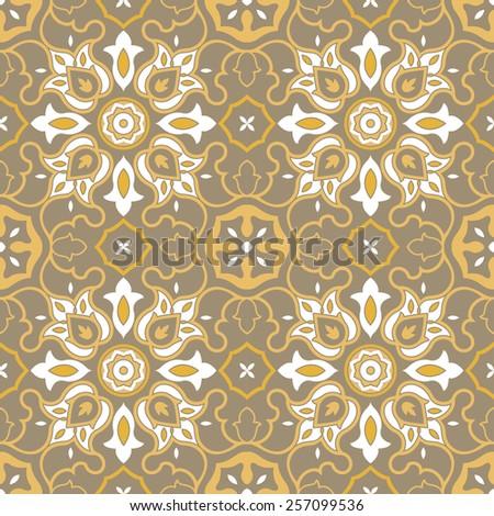 Arabic pattern, Golden seamless Islamic background - stock vector