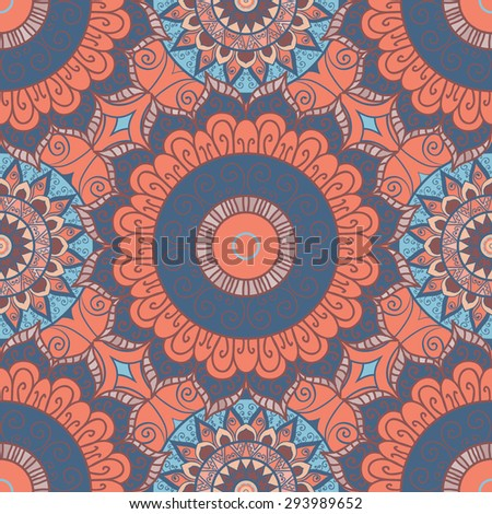 Arabic pattern. Seamless vector background. Mandala. Vintage decorative elements. Hand drawn background. Islam, Arabic, Indian, ottoman motifs. - stock vector