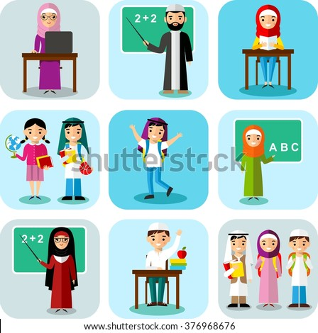 Arabic pupil and teacher in national clothes in flat style.  Vector colorful illustration of arab school children, teachers in national clothes  - stock vector