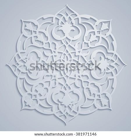 Arabic round ornament pattern - stock vector